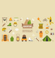 adventure pictogram of activities and equipments vector image vector image