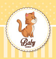 baby shower card invitation with cute tiger vector image vector image