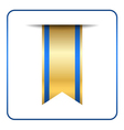 Blue bookmark banner gold tag vector image vector image