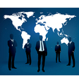 Businessman are standing in front of large world m vector image vector image