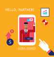 businessman making video call to partner vector image