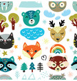 cartoon animals heads and nature elements seamless vector image vector image