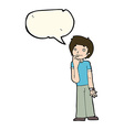 cartoon boy wondering with speech bubble vector image