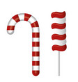 cartoon lollipop and candy cane red and white vector image