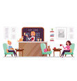 cat cafe shop people relaxing with kitties place vector image