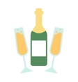 Champagne bottle and glasses flat vector image vector image