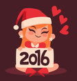 Christmas Girl Holding a 2016 New Year Sign vector image vector image