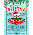 christmas party invitation with owl template vector image