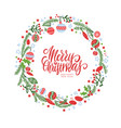christmas wreath with berries spruce branches vector image vector image