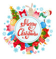 circle shape template with christmas icons vector image vector image