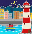City scene with lighthouse and river at night vector image vector image