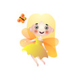 cute blonde long hair fairy girl with golden wings vector image vector image
