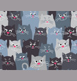 cute cats grey seamless pattern background flat vector image