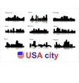 Detailed silhouettes of USA cities vector image vector image