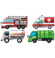 Different types of service trucks vector image vector image