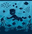 diver boy undersea 4 vector image vector image