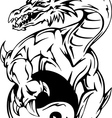 Dragon tattoo with yin-yang sign vector image vector image