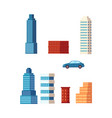flat cartoon building skyscrapers set vector image