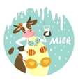 funny cow with glass milk vector image