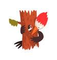 funny woodpecker sitting on a tree and looking at vector image vector image