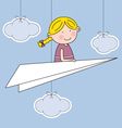 girl flying a paper airplane vector image vector image