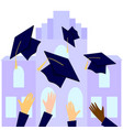 graduates throwing graduation hats in the air with vector image vector image