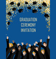 graduation poster with happy graduates vector image vector image