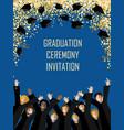 graduation poster with happy graduates vector image