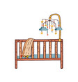 hand drawn colorful childish cot flat vector image vector image