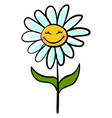 happy chamomile flower on white background vector image vector image