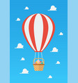 hot air balloon with basket full easter eggs vector image vector image
