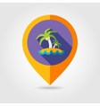 Island with palm trees flat mapping pin icon vector image vector image
