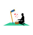 lover hockey guy and hockey stick on picnic meal vector image