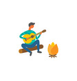 man near bonfire singing songs and plays on guitar vector image vector image