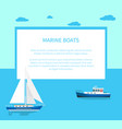 marine boats poster with text and seascape behind vector image