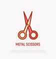 metal scissors thin line icon modern vector image