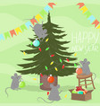 mice decorate christmas tree new year card vector image