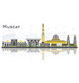 muscat oman city skyline with gray buildings and vector image vector image