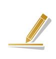 pencil sign golden gradient vector image vector image