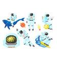 pixel art astronaut spaceman 8 bit objects space vector image vector image