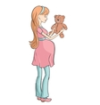 Pregnant young woman chooses toy for your baby vector image vector image