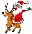 Santa Claus riding a deer vector image vector image
