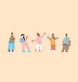 set cute people in casual trendy clothes men women vector image vector image