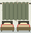 Twin Beds In Front Of Curtain And Brick Wall vector image vector image