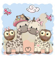 two cute giraffes and owls vector image vector image