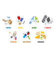 types waste flat isolated vector image vector image