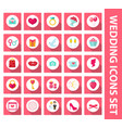 wedding set of icons design elements flat style vector image