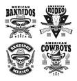 wild west set monochrome emblems vector image