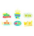 win congrats colorful congratulation labels vector image