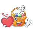 with heart easter basket miniature the shape vector image